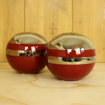 Fun Vintage Atomic Ball Sphere Sculptures Ceramic MCM Chrome Modern Decor Art