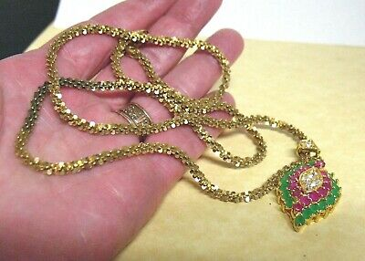Gold Sterling Silver Green Red Clear Stone Pendant On Chain Necklace 20 Grams