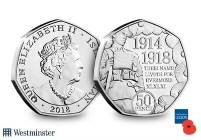 2018 Isle of Man 50p Remembrance Day WW1 1914-1918 Uncirculated