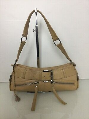 Tula Zip Top Beige Leather Shoulder Bag. Very Good Condition. Cost £119