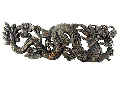 Hand Carved Wooden Dragon Sculpture Teak Wood Wall Hanging Thailand Carving 23""