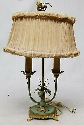 Antique French Style Green Tole Victorian Table Lamp Decorative