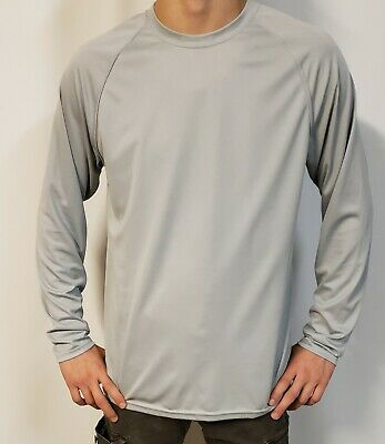 Augusta Sportswear Men's Moisture Wicking Long Sleeve Basic Tee. MEDIUM NEW GREY