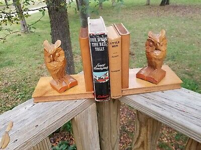 Black Forest Carved Wood Owl Bookends made in Germany