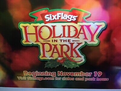 "Six Flags 4 TICKETS - Any Park - Includes ""HOLIDAY in the PARK"""