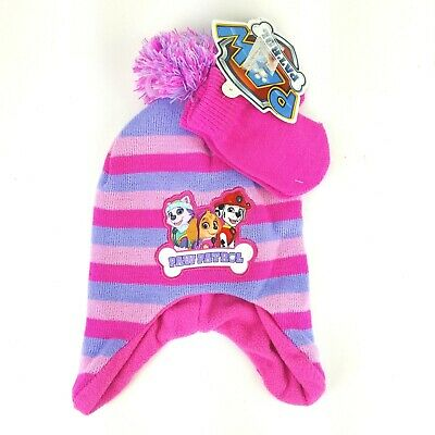 Paw Patrol Girls Trapper Hat Gloves Set Fleece Lined Pink Purple Stripe 3+ NWT