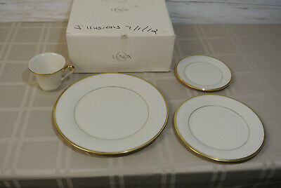 """NEW! 4 Pc LENOX ETERNAL Ivory Gold Edge Plates 10.5"""" Dinner 8"""" Salad Butter Cup"""