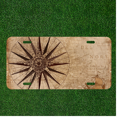 Custom Personalized License Plate Auto Tag With Compass View Of Ancient Map