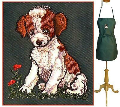 "Brittany Spaniel Pointer Puppy Dog Monogram Apron Green 24"" Long Show Breed Gift"