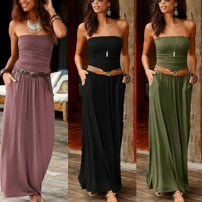 Womens Bandeau Holiday Off Shoulder Summer Evening Party Maxi Long Dress AU