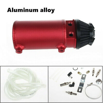 2-Port Aluminum Environmental Protection Oil Catch Can Tank Reservoir W/Filter