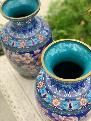 ANTIQUE ORIENTAL CLOISONNÉ VASES WITH FLOWERS / ANTIQUE CHINESE / High-Quality