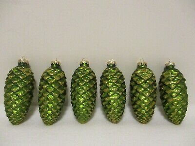 """Lot Of 6 Glass Green Pine Cones 4"""" Long With Gold Glitter"""
