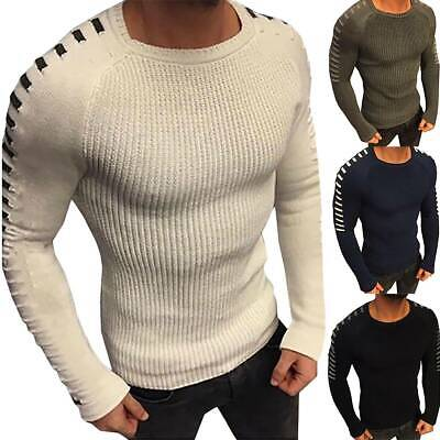 Mens Crew Neck Slim Fit Cotton Jumper Sweater Sweatshirt Knitted Pullover Casual