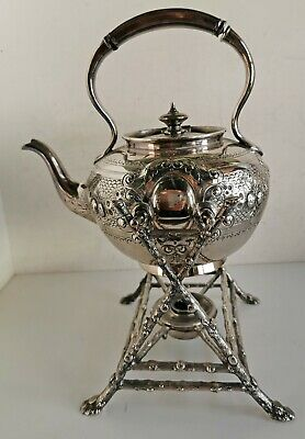 Antique Silver-Plated Teapot on Stand, Fenton Bros. Sheffield EPBM (a035)