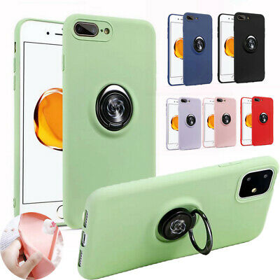 Case For iPhone 11 Pro Max XS XR X 8 7 6s Liquid Silicone Ring Holder Slim Cover