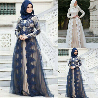 Islamic Arabic Lace Dress Evening Gowns Dubai Muslim Wedding Tulle Party