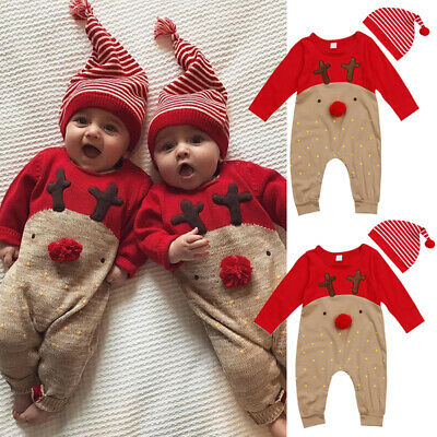 Newborn Baby Boys Girls Christmas Reindeer Romper Jumpsuit Clothes Outfits + Hat