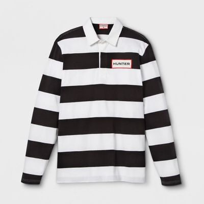 Hunter For Target Boys' Striped Polo Rugby Long Sleeve Shirt White Black L 12/14