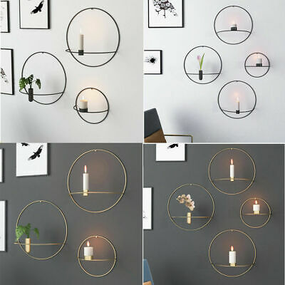 3D Metal Candlestick Wall Mounted Candle Holder Geometric Tea Light Home Decal