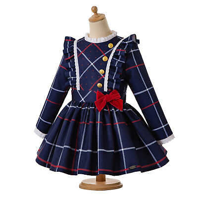 Autumn Kids Girl Spanish Tartan Dress Pleated Christmas Party Pageant Prom 3-12Y