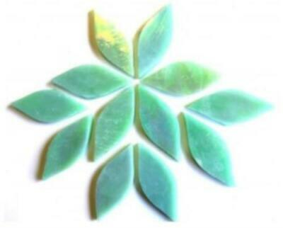 Small Iridised Green Stained Glass Petals - Mosaic Tiles Supplies Art Craft