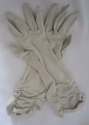 Vintage Ladies GLOVES - Cream - Below Elbow Length - Ruched