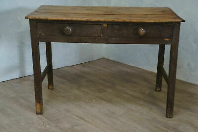 Antique Victorian Period Two Draw Scrub Top Farmhouse Scullery Table