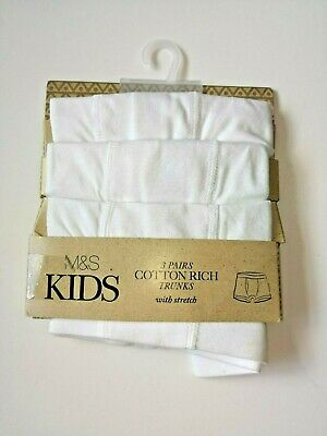 New Boys 3 Pack Cotton Trunks With Stretch Ex M&S Age 18-24 Months