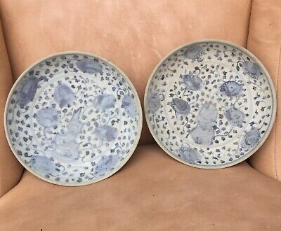 A pair Antique chinese ming blue and white small porcelain plates(Shipwreck)