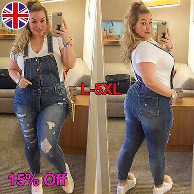 Plus Size Women Stretch Denim Bib Jeans Ripped Dungarees Suspender Jumpsuit18-28