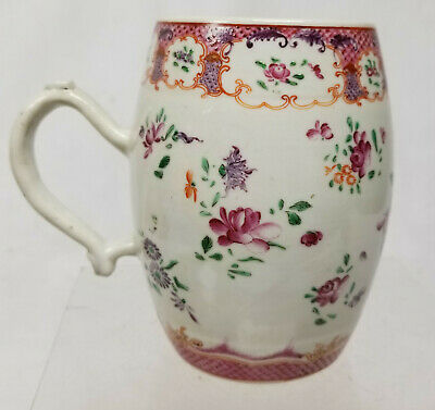 Antique Famille Rose Decorated Chinese Export Porcelain Mug Cup