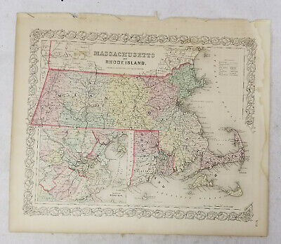 Antique Hand Colored Lithograph Map Colton's Atlas Map of Massachusetts Boston