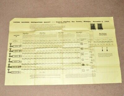 1952 Voting Booth Instruction Ballot Presidential Election Bay County Michigan