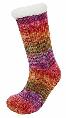 Girls Teens Rainbow Slipper Socks Kids Fleece Lined Xmas Gripper Sock UK 13-4