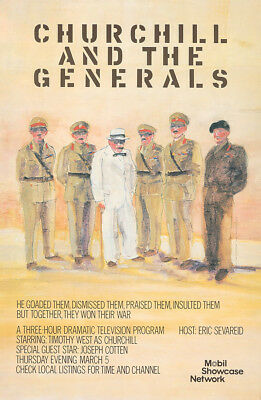 Original Vintage Poster Winston Churchill and the Generals War TV WWII British