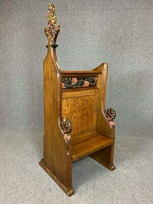 Antique Oak Carved Lectern With Seat Church Chapel Pew Statement Chair Delivery