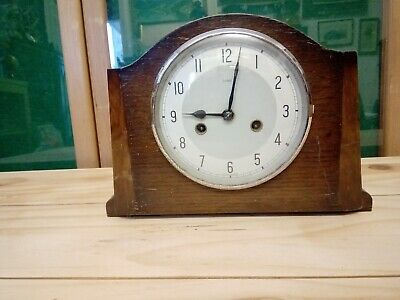 Vintage Oak Cased Enfield chimming Mantel Clock for project