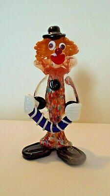 Murano style glass clown figure  black hat and buttons with clear dickie bow