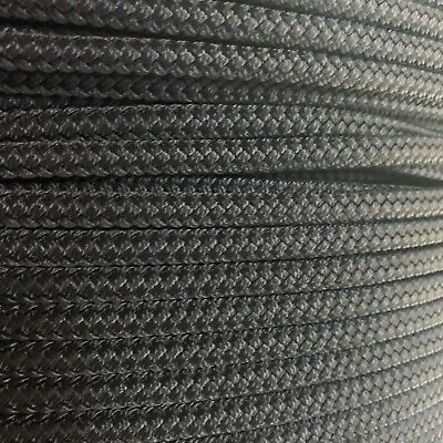 1/4 x 200 ft Pre-Cut Double Braid-Yacht Braid polyester rope hank. Black.