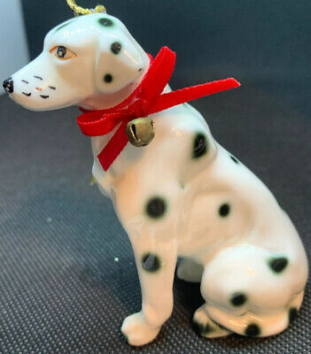 Vintage Christmas Bone China Dalmation Dog Spotted Figurine Ornament