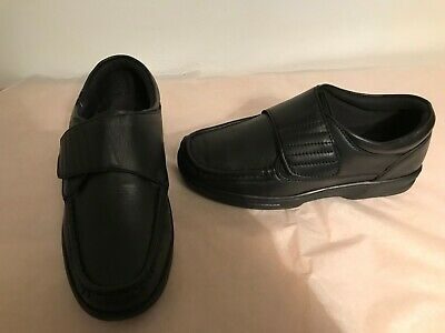 Dr Keller Kevin Black Real Soft Leather Wide Fit Touch Fastening Shoes