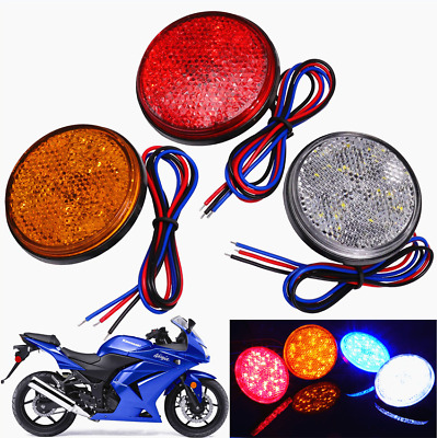 24LED 12V  Brake Stop Light Motorcycle Rear Tail Lamp Round Reflector Light 2x