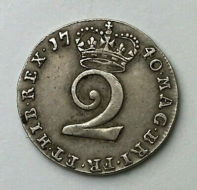 Dated : 1740 - Silver Coin - Maundy Twopence - Two Pence - King George II