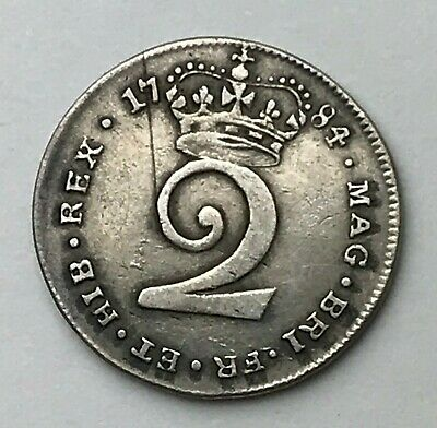Dated : 1784 - Silver Coin - Maundy Twopence - Two Pence - King George III