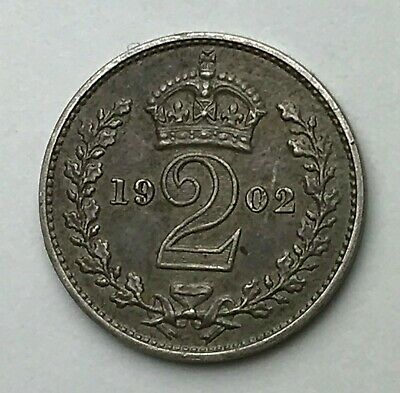 Dated : 1902 - Silver Coin - Maundy Twopence - Two Pence - King Edward VII