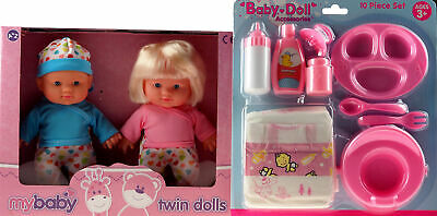 Set Of 2 Small Baby Twin Dolls And 10 Piece Dolly Accessory And Nappy Set