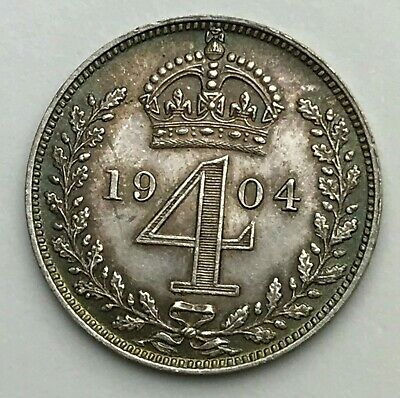 Dated : 1904 - Silver Coin - Maundy - Fourpence - 4d Coin - King Edward VII