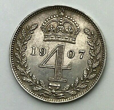 Dated : 1907 - Silver Coin - Maundy - Fourpence - 4d Coin - King Edward VII