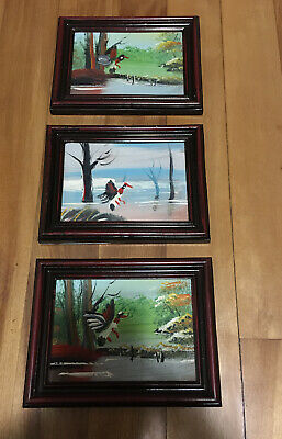 """Hand Painted Birds Oil Painting on Canvas With Frame Lot of 3 - 5.75""""x4.5"""""""